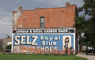 Selz Royal Blue Shoes Sign